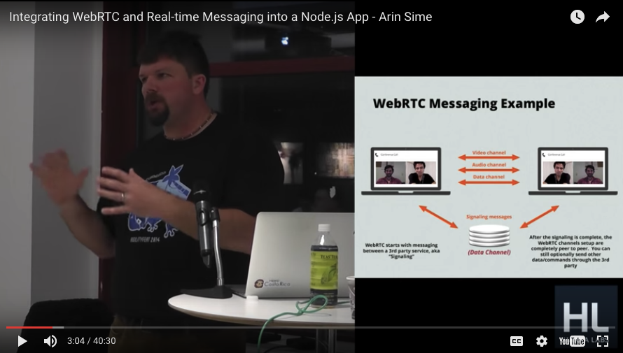 Arin Sime speaking at NYC NodeJS meetup on WebRTC in April 2014