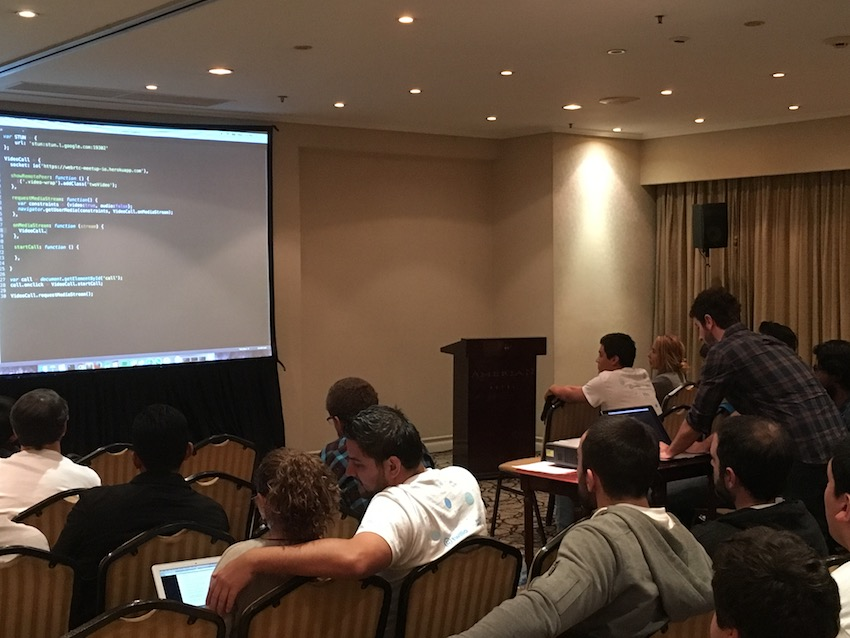 Germán Goldenstein leading a WebRTC coding demonstration at WebRTC Argentina