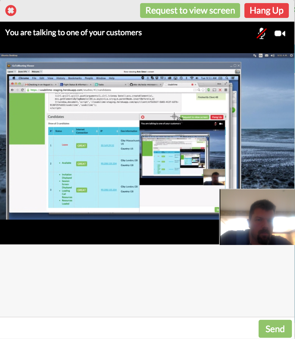 Screen Sharing session using WebRTC in Usabili.me
