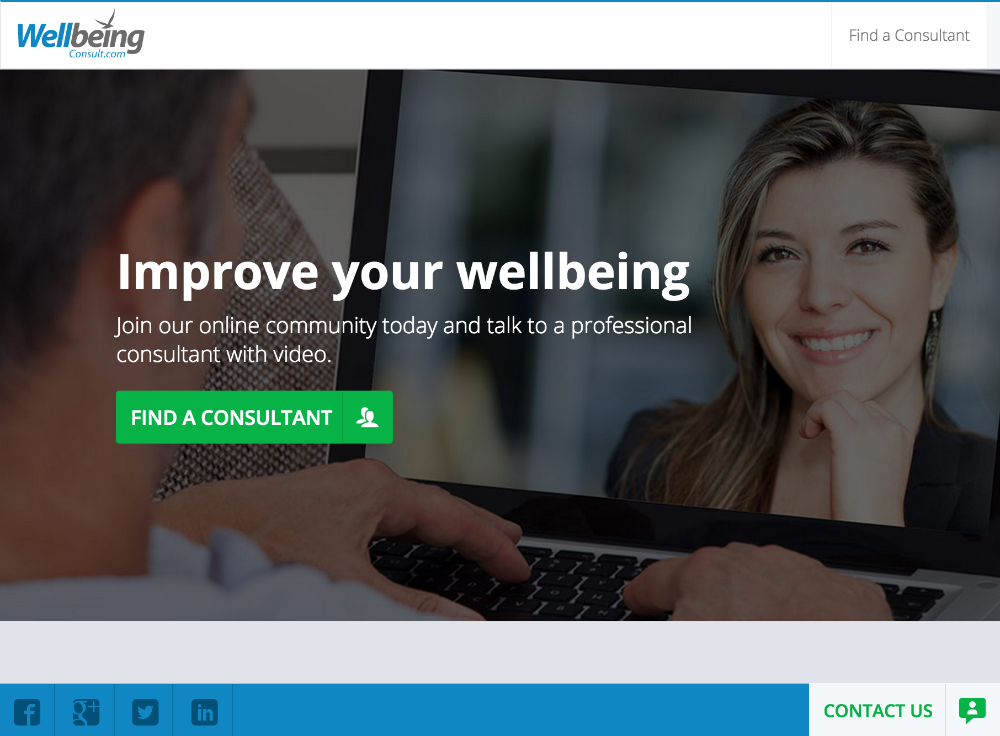 WellBeing Consult home page - built by WebRTC.ventures