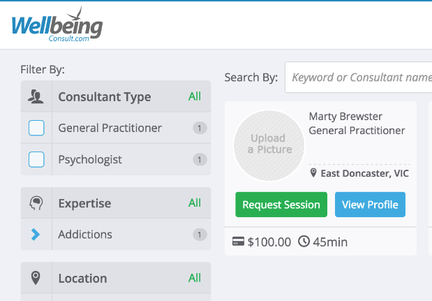 Example listing of consultants in WellBeing