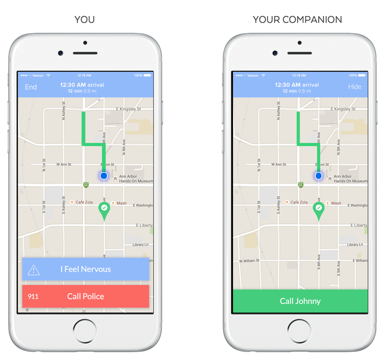 The Companion App allows a friend to virtually follow you home and to know automatically if something has gone wrong.