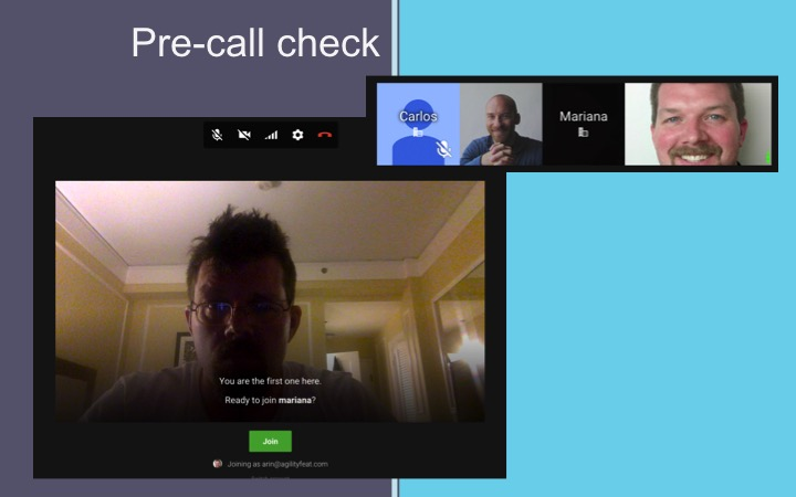 Doing a Pre-call check in Google Hangouts
