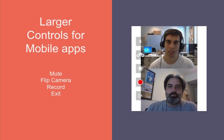 Controls in a mobile video chat application