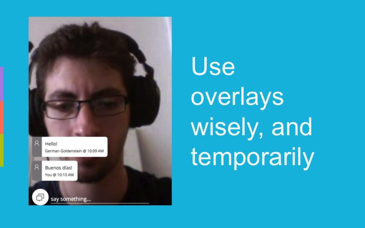text chat overlays in a WebRTC application