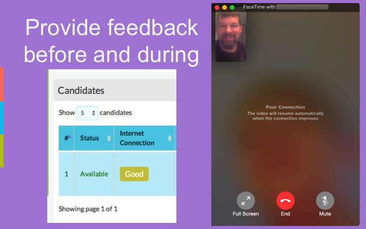 Examples of providing call quality feedback to users in a video conference