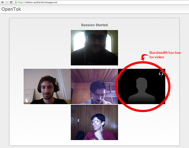OpenTok WebRTC call after bandwidth testing screenshot with one user streaming audio only