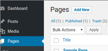adding a new page in page menu