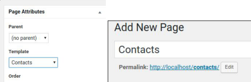 adding the contacts page, correct permalink pictured
