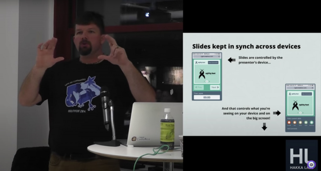 Presenter Arin Sime discusses WebRTC at the NYC Node.js Meetup in 2014