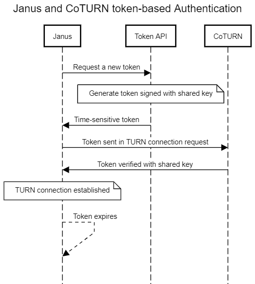 Janus and CoTURN token-based authentication diagram